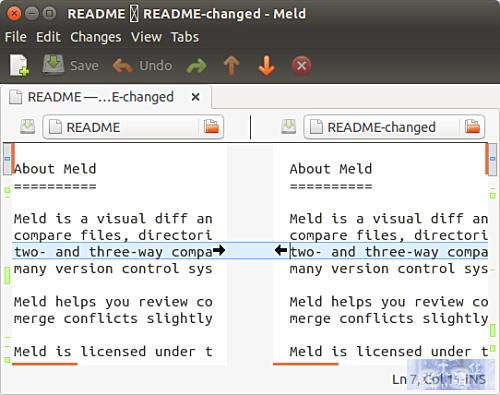 Meld advanced file comparison